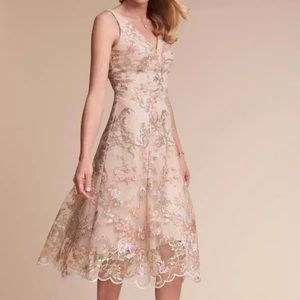 Hitherto BHLDN Floral Embroidered Beige Dress